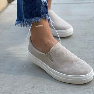 Mocha/ Natural snake texture slip on sneakers
